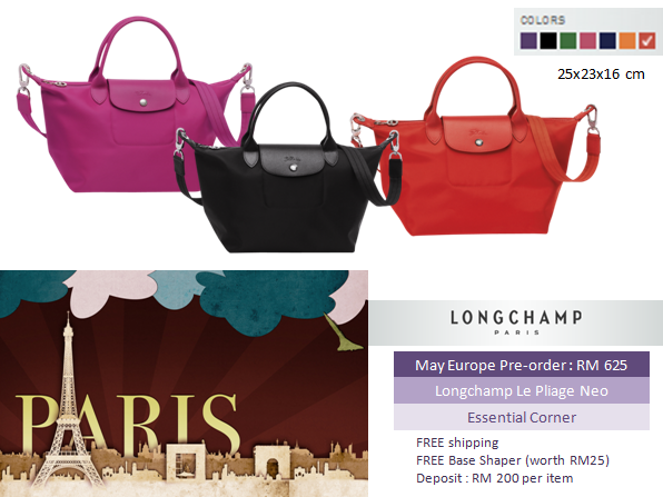 a9faf41cd0 longchamp le pliage neo pre-order bilberry / black / emerald / pink / navy  / orange / poppy - Essential Corner